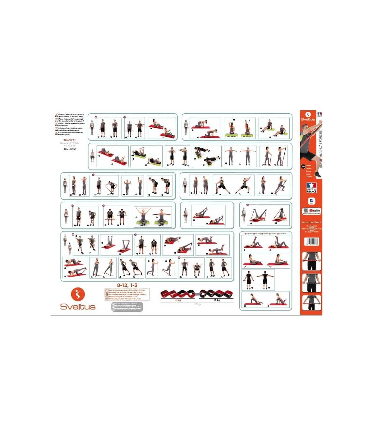 Exercice instructions sveltus Elastiband ® Fitness Gymnastique Poster dans 5 langues