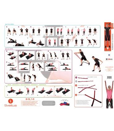 Poster d'exercices rubberfit et 4 bandes